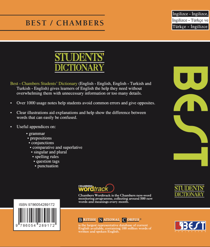 Best Publishing Chambers Students' English Dictionary Cover Back Page