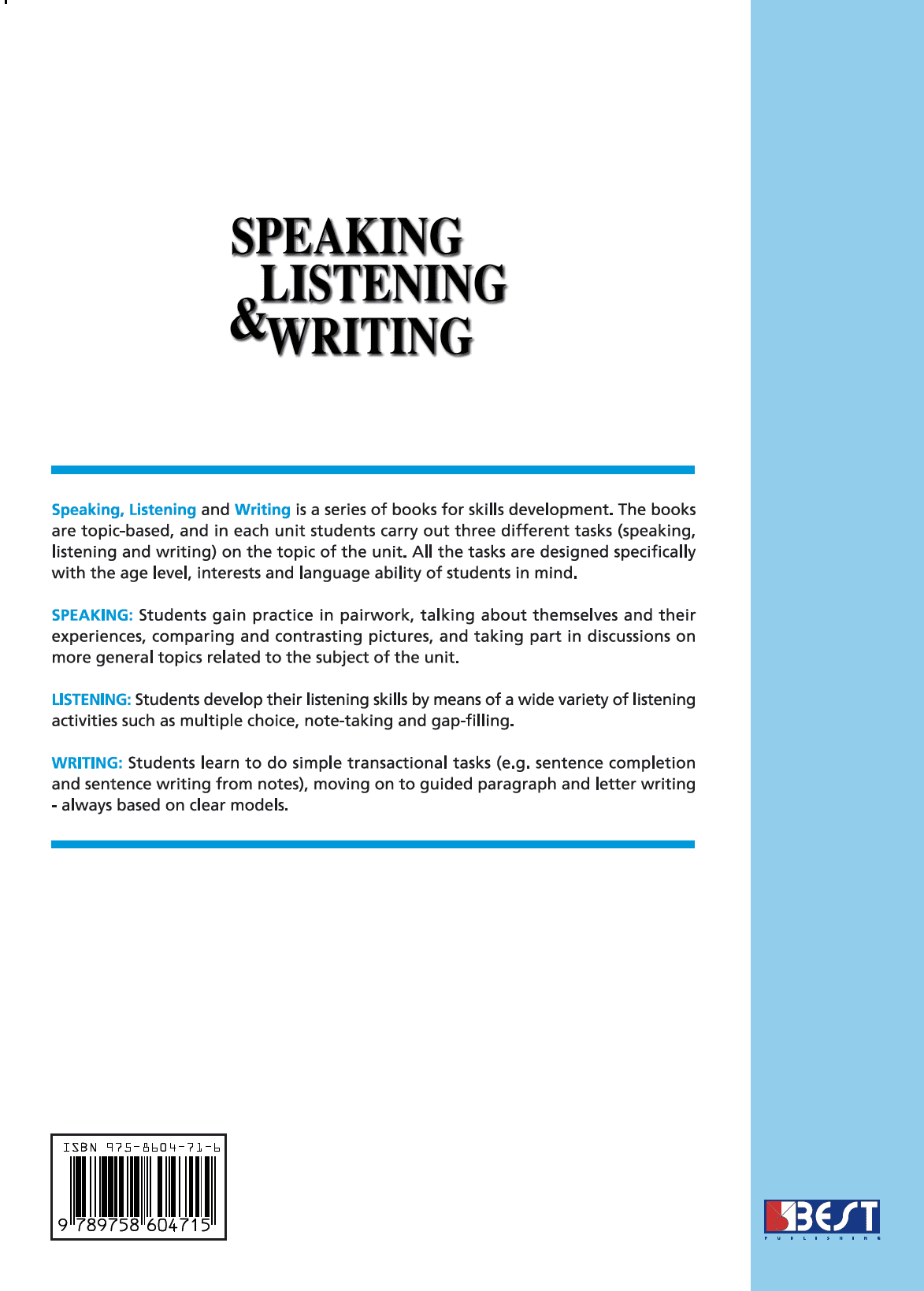 Speaking Listening Writing 1 English Book Cover Back Page