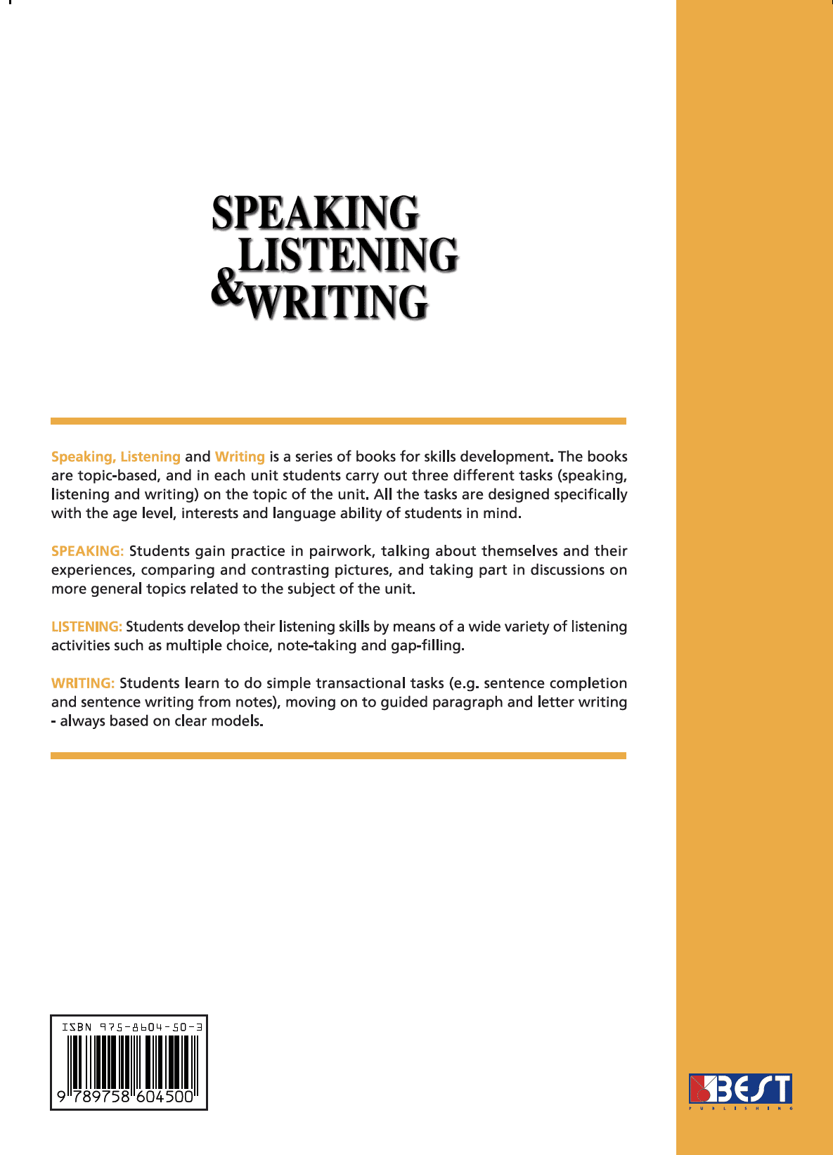 Speaking Listening Writing 2 English Book Back Page