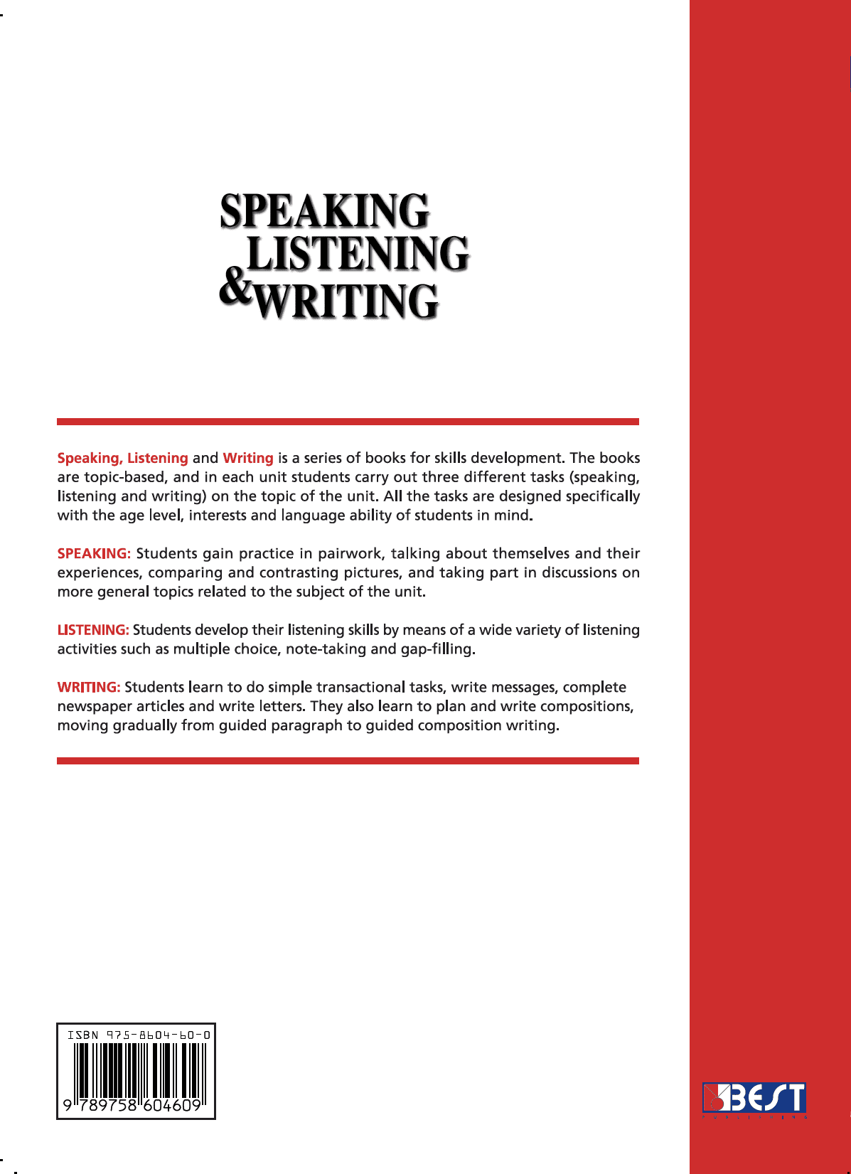 Speaking Listening Writing 3 English Book Back Page